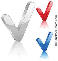 3D check symbol. Vector illustration.