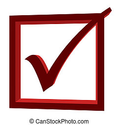 3D Checkmark - 3D checkmark inside a red box on a white...