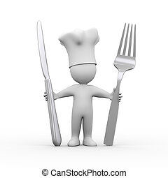 3d chef holding fork and knife
