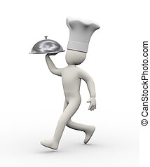 3d chef running with dish