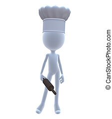 3D Chef With A Rolling Pin
