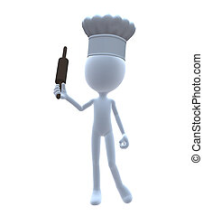 3D Chef With A Rolling Pin - 3D chef with a rolling on a...