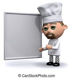 3d Chef with a whiteboard - 3d render of a chef stood next...