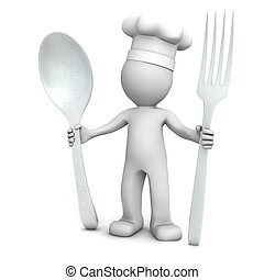 3D chef with spoon and fork on white background