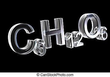 3d, chemie, formules, in, glas, van, hexose