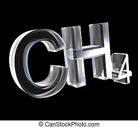 3d, chemie, formules, in, glas, van, methane