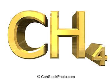 3d, chemie, formules, in, goud, van, methane