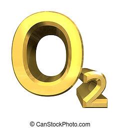 3d, chemie, formules, in, goud, van, zuurstof