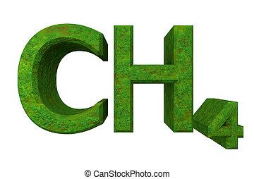 3d, chemie, formules, in, gras, van, methane