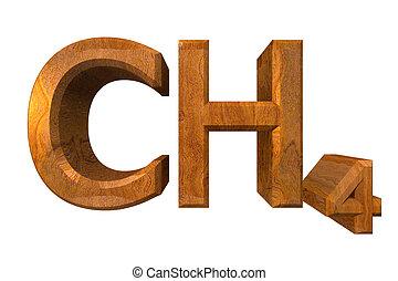 3d, chemie, formules, in, hout, van, methane