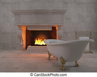 3d, cheminée, baignoire