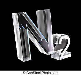 3d made chemistry formulas in glass of Nitrogen