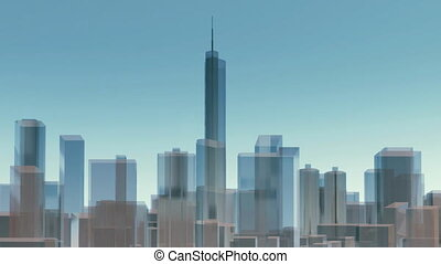 3D Chicago city skyline architectural background 4K -...