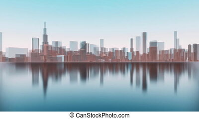 3D Chicago city skyscrapers reflected in water 4K - Abstract...