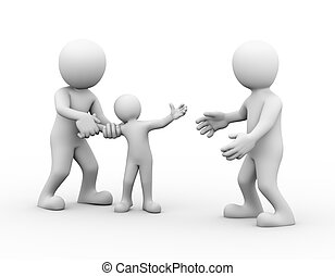 3d child custody family dispute - 3d illustration of father...