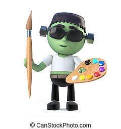 3d Child Frankenstein loves to paint