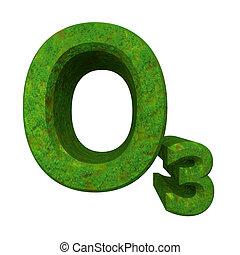 3d, chimica, formule, in, erba verde, di, ozono