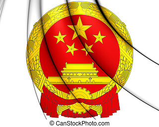 China Coat of Arms - 3D China Coat of Arms. Close Up.