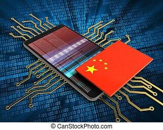 3d china flag - 3d illustration of mobile phone over digital...