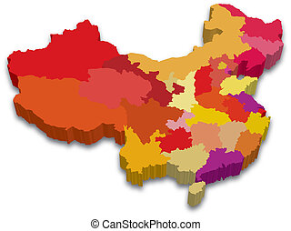 3D China Province Map - Red yellow 3D map of China