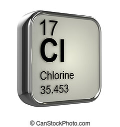 3d Chlorine element - 3d render of the chlorine element from...