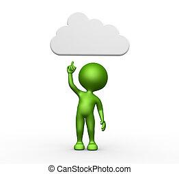 3d, chmura, na górze, człowiek