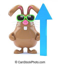 3d Chocolate bunny feels optimistic