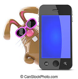 3d Chocolate Easter bunny behind smart phone