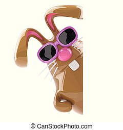 3d Chocolate Easter bunny peeps out.