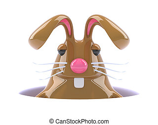 3d Chocolate Easter bunny rabbit hides in his burrow