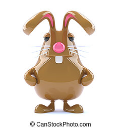 3d Chocolate Easter bunny rabbit is alert