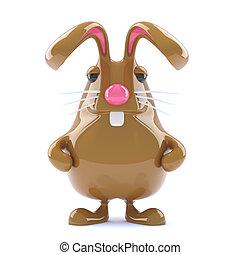3d Chocolate Easter bunny rabbit is alert