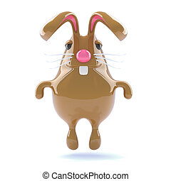 3d Chocolate Easter bunny rabbit jumps for joy