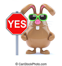 3d Chocolate Easter bunny rabbit with Yes road sign