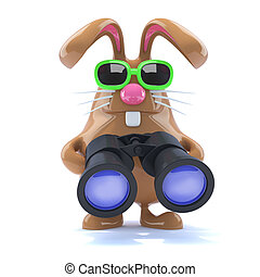 3d Chocolate Easter bunny with binoculars