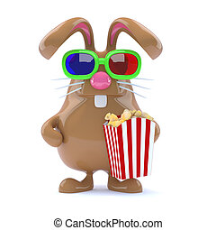 3d Chocolate Easter Bunny with popcorn