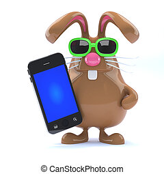3d Chocolate Easter Bunny with smartphone.