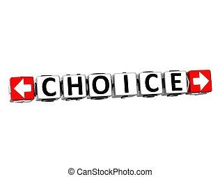 3D Choice Button Click Here Block Text