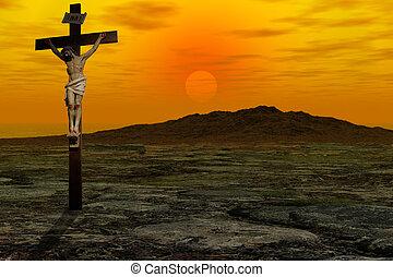 Christ Cross against sky sunrise.