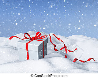 3D Christmas background with gift box in snow