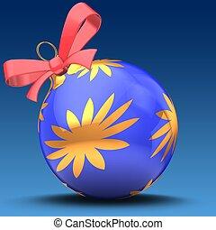 3d Christmas ball blue