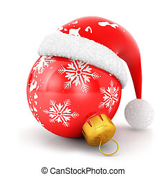 3d christmas bauble, isolated white background, 3d image
