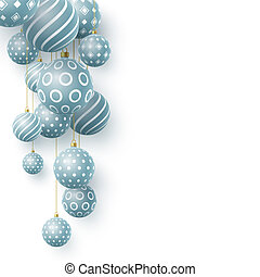 3d Christmas blue balls with geometric pattern.