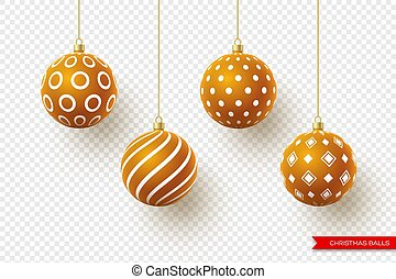 3d Christmas brown balls with geometric pattern. Decorative elements for holiday new year design. Isolated on transparent background, vector illustration.