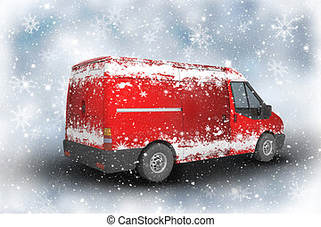Christmas delivery van on a sparkly background with snowflakes