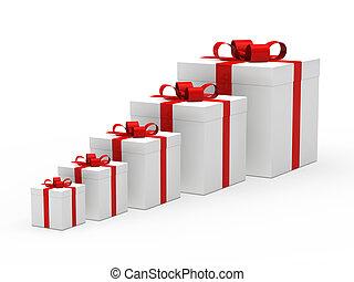 christmas gift box white red ribbon