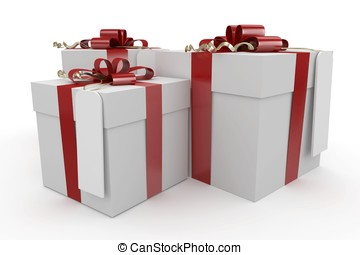 3d christmas gift boxes with tag