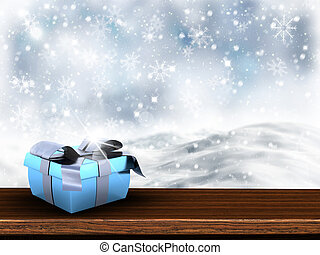 3D Christmas gift on wooden table with snowy background