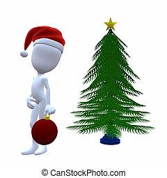 3D Christmas Guy With A Christmas Tree - 3D Christmas guy...