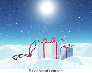 3D Christmas landscape with gift box nestled in snow